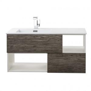 Cutler Kitchen & Bath Medium Grey Woodgrain, White Sink 41.5-in Integral Single Sink Bathroom Vanity with Cultured Marble Top