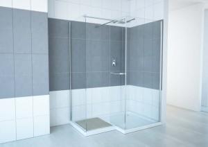 "Walk-In Shower Lavender, Chrome  59"" (Base Included)"