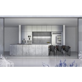 Transitional Style Kitchen In Laminate With Two Finish & Flat Door (Promo #6)