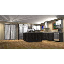"""European Style Structure Panels' Kitchen, L Shape, (14'-8"""" X 11'-4"""") with 5' X 5' Island."""
