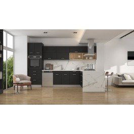 Contemporary Style Kitchen (12'x7') In Laminate With Matte Jet Black Door