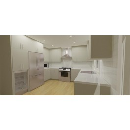 "Contemporary Style Kitchen 10x10 In Thermoform Polymer With 3/4"" Counter Top In Quartz And Euro Style Doors"
