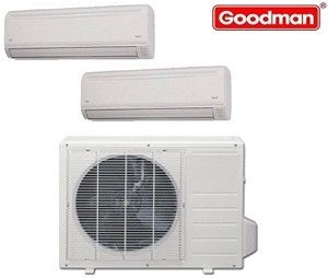 Goodman Ductless Mini Split Multi-Zone Heat Pump 18000 Btu (2x9000 Btu) Seer 21 (MST183E21MCAA-(2)MSH093E21AXAA)
