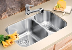"Blanco Double Kitchen Sink Satin Brushed Finish Essential U 1-1/2 Collection Stainless Steel 17-3/8""x26-1/2""x8"" Sec. 7"" (BLA400006)"