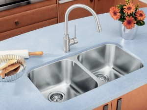 "Blanco Double Kitchen Sink Satin Brushed Finish Essential U 2 Collection Stainless Steel 17-3/8""x30-5/8""x8"" (BLA400008)"