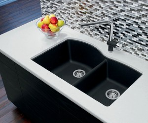 "Blanco Double Kitchen Sink Anthracite Diamond U 1 3/4 Collection Granite Composite in Silgranit 20-7/8""x32""x9-1/2"" Sec. 8"" (BLA400077)"