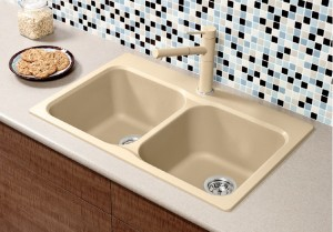 "Blanco Double Kitchen Sink Vision 210 Collection Granite Composite in Silgranit Biscuit 20-11/16""x31-1/2""x8-1/4"" (BLA401826)"