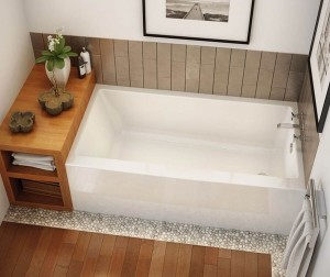 MAAX 105704R000B White RUBIX 6032 AFR Right OR LEFT Drain Acrylic Alcove Bathtub With Integrated Tiling Flange And Skirt 60''