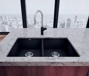 "Blanco Double Kitchen Sink Anthracite Precis U 2 Super Collection Granite Composite in Silgranit 29-3/4""x18-1/8""x8"" (BLA400580)"