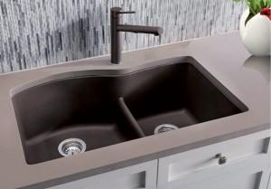 """Blanco Double Kitchen Sink Café Diamond U 1 3/4 Collection Granite Composite in Silgranit 32""""x20-1/2""""x9-1/2"""" (BLA401573)"""