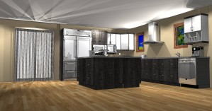 "European Style Structure Panels' Kitchen, L Shape, (14'-8"" X 11'-4"") with 5' X 5' Island."