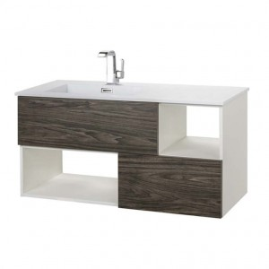 Cutler Kitchen & Bath Dark, White Sink 41.5-in Integral Single Sink Bathroom Vanity with Cultured Marble Top