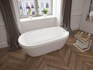 "Mirolin CF2007 Demi Free Standing Bath - Soaker 60"" White"