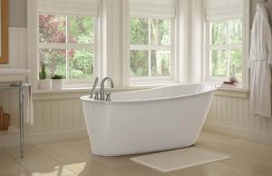 "Maax Sax 105797 Freestanding Acrylic Bathtub White 60"""