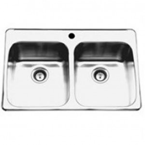 "Kindred RDL20311 Topmount double bowl sink stainless steel Reginox, 2 Bowls, 1 hole, 20 1/2"" x 31 1/4"""