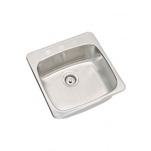 "Kindred RSL20203 Topmount single bowl sink stainless steel Reginox, 1 Bowl, 3 holes, 20 1/2"" x 20"""