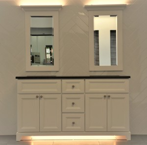 "Rock Solid Bathroom Vanity with Granite or Quartz Top and Undermount Sink (60"")"