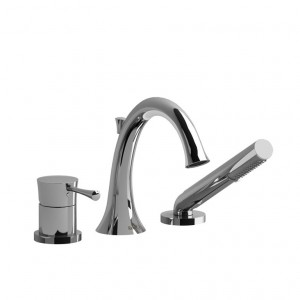 Riobel ED10 Edge Collection 3-Piece Deck-Mount Tub Filler With Hand Shower Chrome