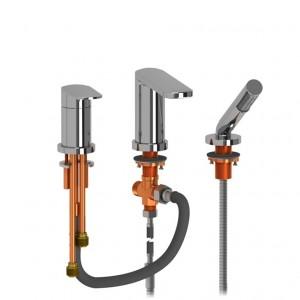 Riobel Pro EV16C 3-Piece Type P (Pressure Balance) Deck-Mount Tub Filler With Hand Shower