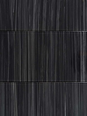 "Glass Tiles for Wall, Black (2""x8"")"