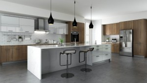 Contemporary Style Kitchen (18'x10') In Laminate With Walnut Or Glossy White Door