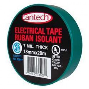 Cantech Green Vinyl Electrical Tape - 7mil 18mmx20m