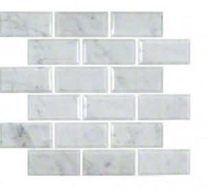 Interlocking Ceramic,Mosaic Wall Tile 2x4 Honed and BeveledArabescato Carrara (SMOT-ARA-2X4HB)