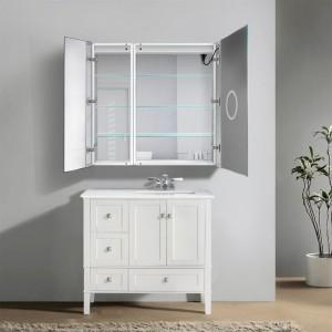 KRUGG-SVANGE636R Led Bi-View Medicine Cabinet 36'' x 36'' With Dimmer & Defogger Svage