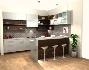 Modern Style Kitchen In MDF Painted Off White & Walnut Wood In Natural Finish With Slab Door