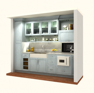 Transitional Style Kitchen With Door In MDF, Poly Wrap & Weekend Getaway Finish