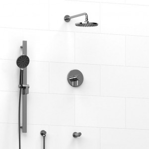 """Riobel 9045SHTM Silhouette-Kit Collection Type T/P ½"""" Coaxial 3-Way System, Hand Shower Rail, Elbow Supply, Shower Head And Toe Tester Chrome"""