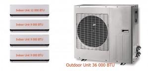 MULTI-ZONE DC INVERTER - M4099912 QUADRI ZONES (1 OUTDOOR UNIT of 36000 BTU + 3 INDOOR UNITS of 9000 BTU + 1 INDOOR UNIT of 12000 BTU)