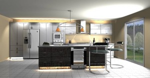 "Contemporary Kitchen, Thermoplastic, Grey Tone, High Gloss - (21'- 7"")"