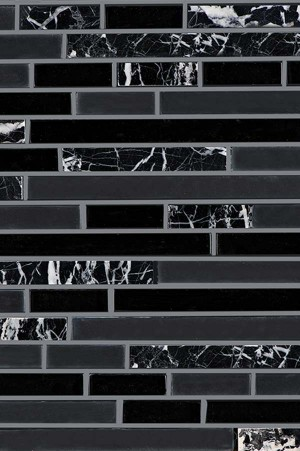 Interlocking Glass/Marble, Mesh-mounted Mosaic Wall Tile (JRA080)