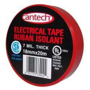 Cantech Red Vinyl Electrical Tape - 7mil 18mmx20m