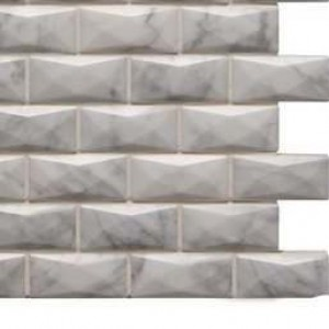 Interlocking Ceramic,Carrara White  3D 1x2 Polished(SMOT-CAR-3D-1X2P)