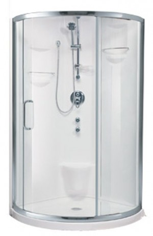 "Neptune  Shower Door Stella Chrome (76-7/8""x36-1/4""x36-1/4"")"