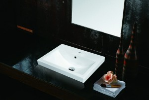 Jade TS-114 White Square Porcelain Drop-In Sink Spring Collection