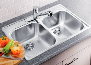 "Blanco Double Kitchen Sink Satin Brushed Finish Essential 2 Collection Stainless Steel 20-7/8""x31-5/16""x8"" (BLA400001)"
