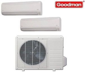 Goodman Ductless Mini Split Multi-Zone Heat Pump 18000 Btu (2x12000 Btu) Seer 21 (MST183E21MCAA-(2)MSH123E21AXAA)