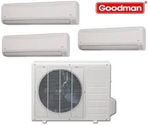Goodman Ductless Mini Split Multi-Zone Heat Pump 27000 Btu (2x9000 Btu - 1x18000 Btu) Seer 21 (MST273E21MCAA-(2)MSH093E21AXAA-MSH183E21AXAA)