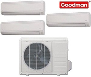Goodman Ductless Mini Split Multi-Zone Heat Pump 27000 Btu (3x12000 Btu) Seer 21 (MST273E21MCAA-(3)MSH123E21AXAA)