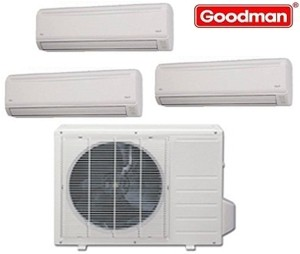 Goodman Ductless Mini Split Multi-Zone Heat Pump 27000 Btu (3x9000 Btu) Seer 21 (MST273E21MCAA-(3)MSH093E21AXAA)