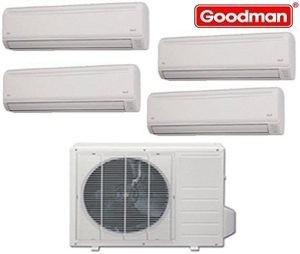 Goodman Ductless Mini Split Multi-Zone Heat Pump 36000 Btu (3x9000 Btu - 1x 12000 Btu) Seer 21 (MST363E21MCAA-(3)MSH093E21AXAA-MSH123E21AXAA)