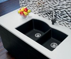"""Blanco Double Kitchen Sink Anthracite Diamond U 1 3/4 Collection Granite Composite in Silgranit 20-7/8""""x32""""x9-1/2"""" Sec. 8"""" (BLA400077)"""
