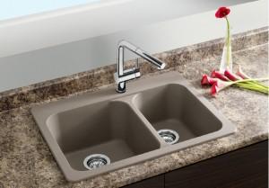 "Blanco Double Kitchen Sink Vision 1-1/2 Collection Granite Composite in Silgranit Truffle 20-11/16""x27-9/16""x8"" Sec. 7"" (BLA401129)"