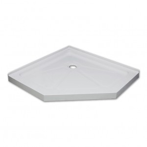 "Jade 7434-38-70 White Acrylic Neo Angle Base With Tile Flange (38""x38"")"