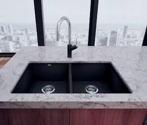 """Blanco Double Kitchen Sink Anthracite Precis U 2 Super Collection Granite Composite in Silgranit 29-3/4""""x18-1/8""""x8"""" (BLA400580)"""