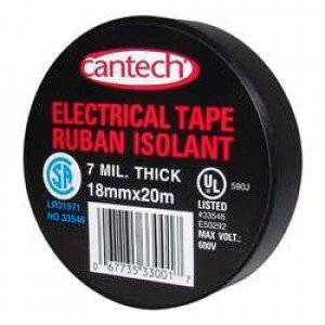Cantech Black Vinyl Electrical Tape - 7mil 18mmx20m