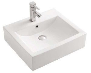 "White Porcelain Art Basin (21.26""x18.50""x6.10"")"